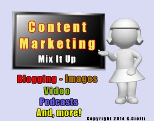 online marketing, blogging, images, video, podcasts, graphics