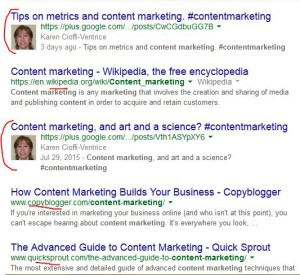 Google search results for 'content marketing.'
