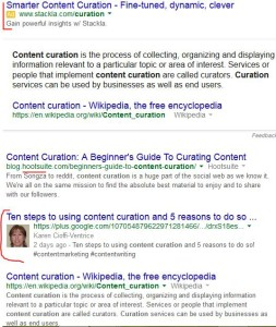 "SERP One for ""Content Curation."""