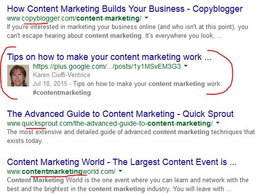 Page 1 SERP for Content Marketing